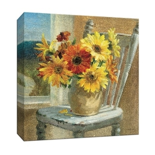 """PTM Images 9-152399  PTM Canvas Collection 12"""" x 12"""" - """"Sunflowers by the Sea Crop"""" Giclee Sunflowers Art Print on Canvas"""