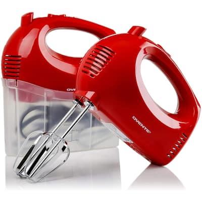 Ovente Hand Mixer 5 Speed Ultra Mixing, 150 Watt Powered, Red HM151R