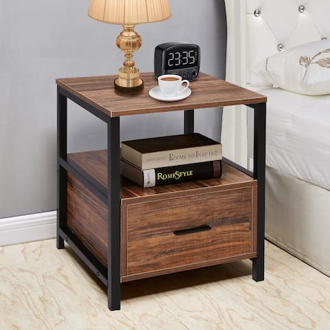 VECELO 1-Drawer Square Side Table/Sofa Table/End Table/Nightstand