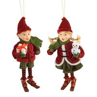 Set of 4 Red and Green Elf Christmas Decorative Hanging Ornament 12""