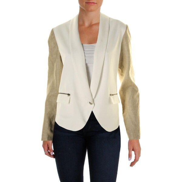 Nell Couture Womens One-Button Blazer Tencel Colorblock