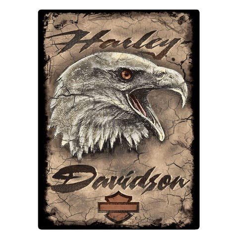 "Harley-Davidson Rugged Eagle Card Embossed Tin Sign, 12.5 x 17 inches 2011391 - 12.5"" x 17"""