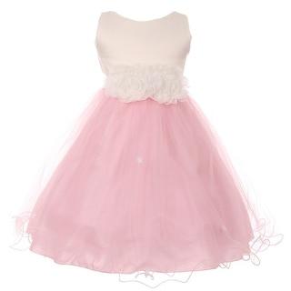 Girls Pink Trim Floral Embellished Waist Special Occasion Dress