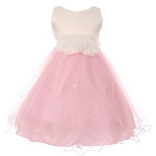Little Girls Pink Trim Floral Embellished Waist Special Occasion Dress