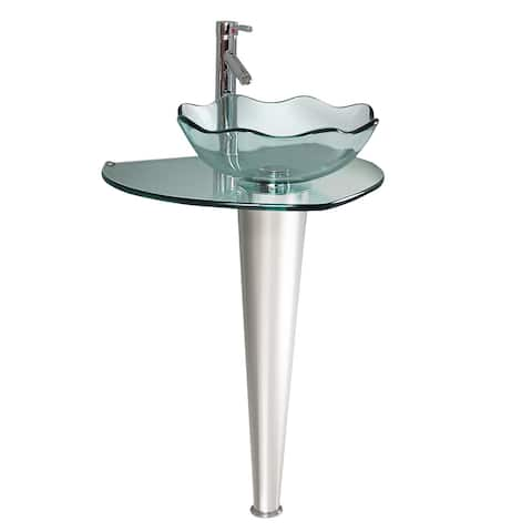 """Fresca CMB1036-V Netto 24"""" Glass Pedestal Bathroom Sink with Single - Stainless Steel"""