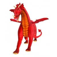 "47.25"" Life-Like Handcrafted Extra Soft Plush Red Dragon Ride-on Stuffed Animal"