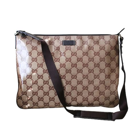 Gucci Unisex Crystal GG Fabric Laptop Sling Messenger Bag 278301 - Brown - One size