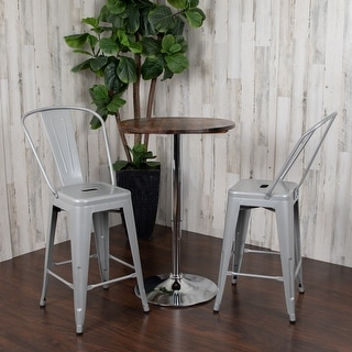Link to 24'' High Metal Indoor-Outdoor Counter Height Stool with Back Similar Items in Patio Furniture