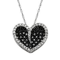 3/8 ct Diamond Black & White Diamond Pendant in 10K White Gold