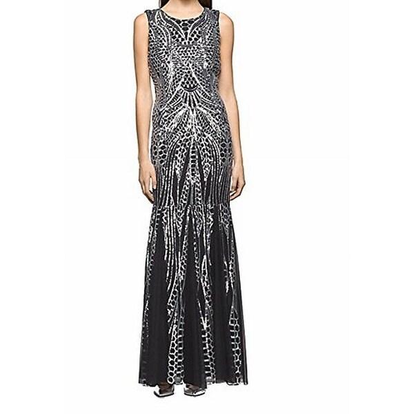 9ace2c3749 Shop Calvin Klein NEW Silver Black Womens 6 Sequin Mermaid Ball Gown ...