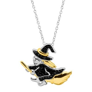 Crystaluxe Witch & Broomstick Pendant with Swarovski Crystals in Rhodium & 18K Gold-Plated Sterling Silver - Black