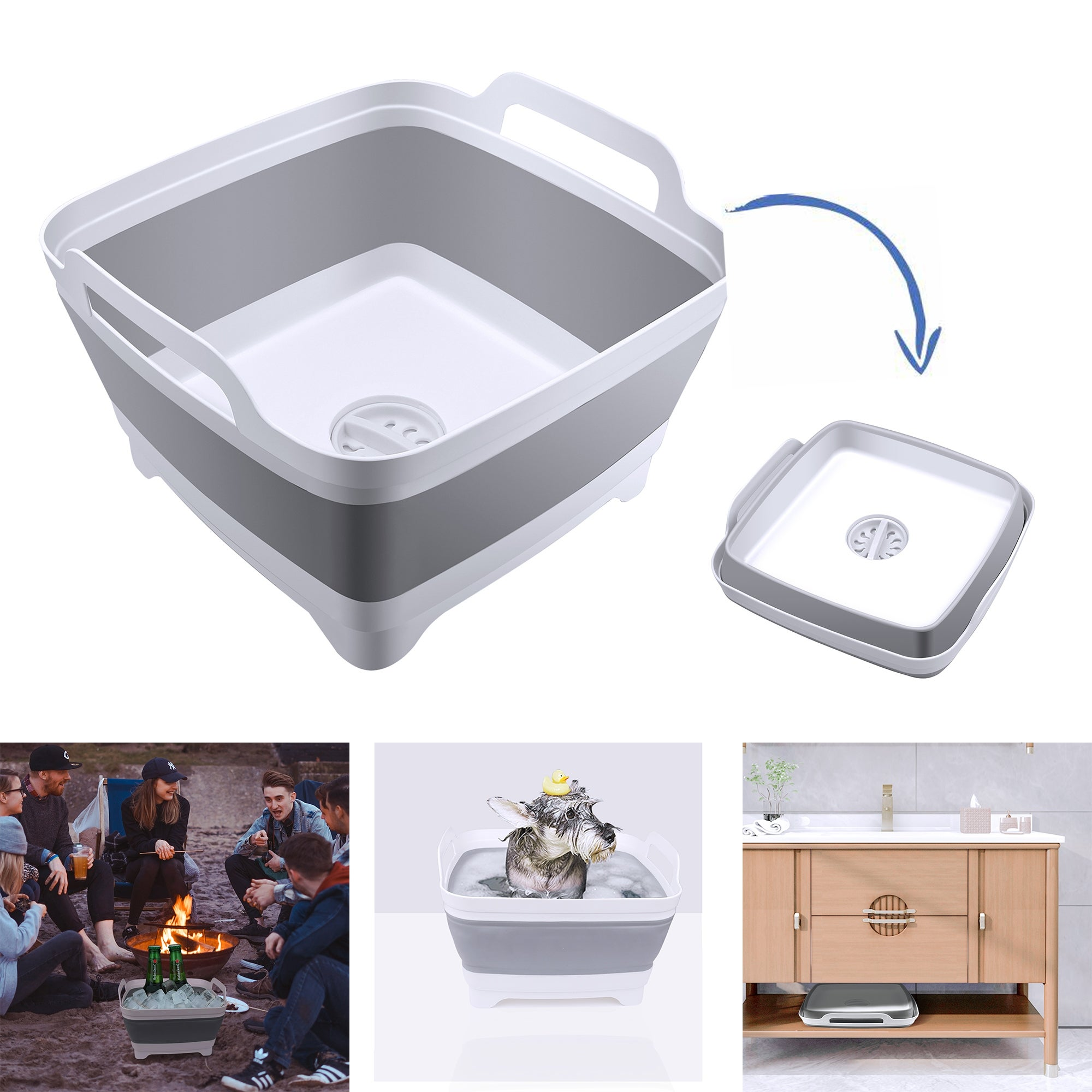 Collapsible Washing Up Bowl Folding Portable Round Wash Basin Multifunctional Outdoor Camping Hiking Unbreakable Washing Container Outdoor Activities 1pc
