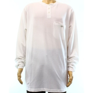 Alfani NEW White Mens Size 2XL Regular Fit Long Sleeve Henley Shirt
