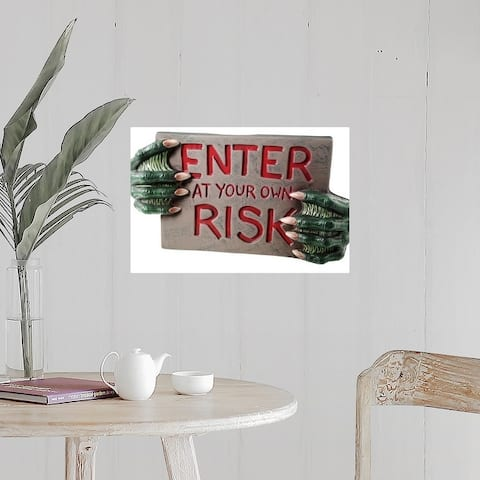 """""""Warning sign with monster hands"""" Poster Print"""