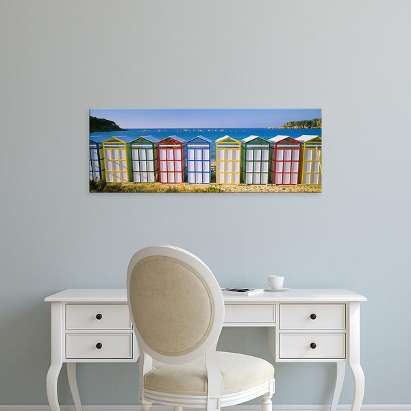 Easy Art Prints Panoramic Images's 'Beach huts in a row on the beach, Catalonia, Spain' Premium Canvas Art