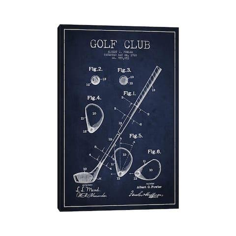 "iCanvas ""Golf Club Navy Blue Patent Blueprint"" by Aged Pixel Canvas Print"