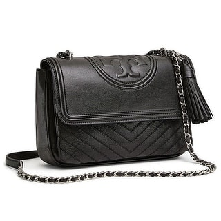 3b382a5dc655 Quick View.  498.00. Tory Burch Fleming Distressed Leather Flap Shoulder Bag  in Black