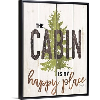 """""""The Cabin is My Happy Place"""" Black Float Frame Canvas Art"""