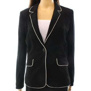 Halogen NEW Black White Women's Size Small S Contrast Trim Jacket