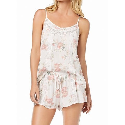 Linea Donatella Womens Sleepwear White Size XL Pajama Sets Floral Print