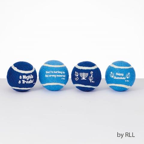 "Set of 4 White and Blue Hanukkah Chanukah Dog Pet Tennis Balls 2.5"""