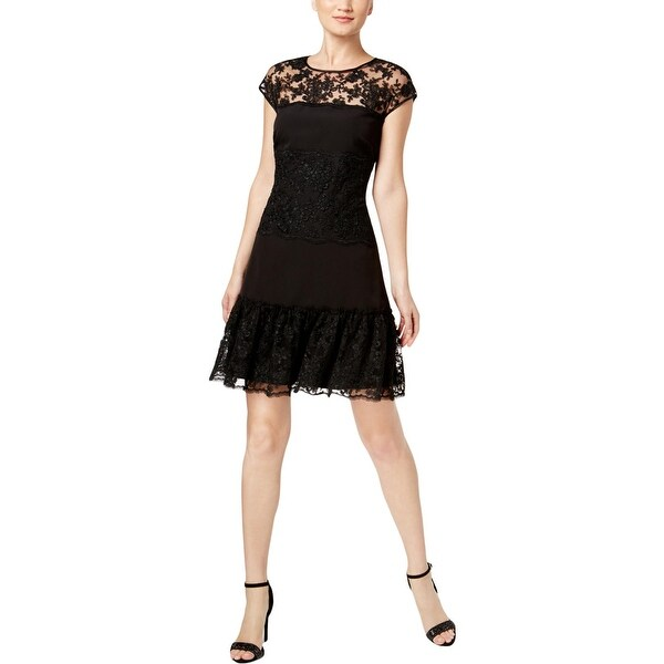 MSK Womens Flounce Dress Lace Knee-Length
