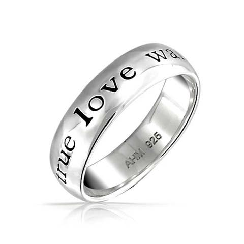 Mantra Words True Love Waits Purity Ring Band 925 Sterling Silver