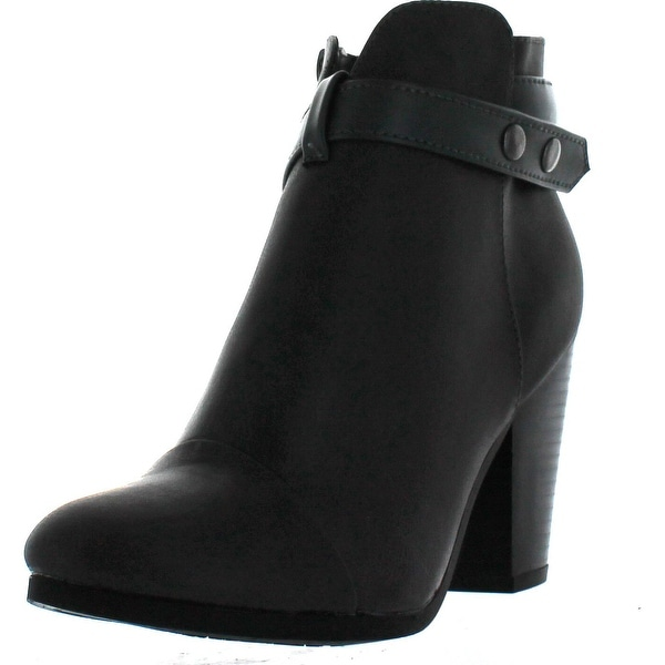 Breckelle's Gail-22 Women's Belted Chunky Stacked Heel Ankle Booties