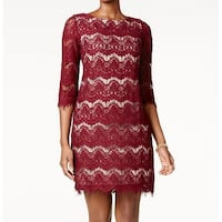 Jessica Howard Burgundy Red Womens Size 10 Floral Lace Sheath Dress
