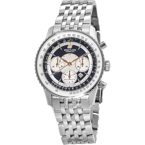 Breitling Men's A4137012-B986-444A 'Montbrillant 38' Chronograph Stainless Steel Watch - Black