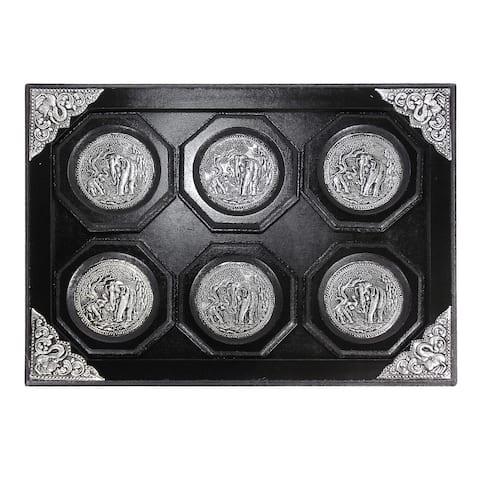 Handmade Vintage Elephant Pewter Embellish Wooden Coaster Set and Tray (Thailand)