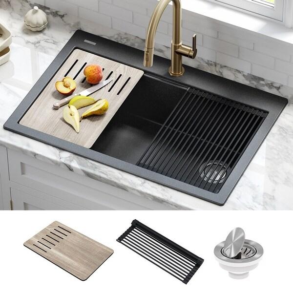 KRAUS Bellucci Workstation 33 inch Drop-In Granite 1-Bowl Kitchen Sink. Opens flyout.