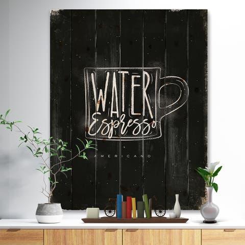Designart 'Americano cup coffee chalk' Digital Art Print on Natural Pine Wood - Black