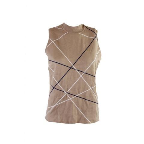 Alfani Camel Sleeveless Mock-Neck Striped Sweater L