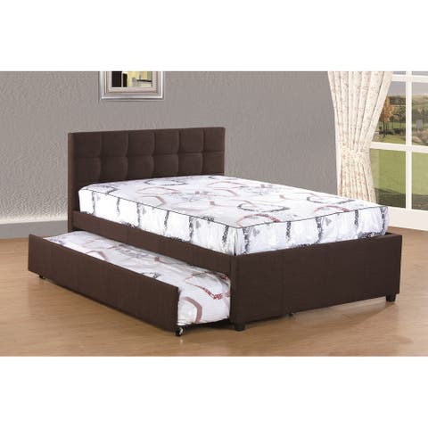 Best Quality Furniture Full Upholstered Panel Bed with Twin Trundle
