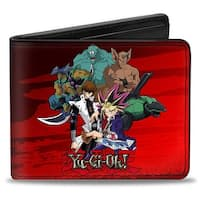 Yu Gi Oh 5 Character Group + 4 Character Group Black Red Fade Bi Fold Wallet - One Size Fits most