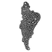 Antiqued Silver Plated Stamping Mythical Wing Left Pendant 54mm (1)