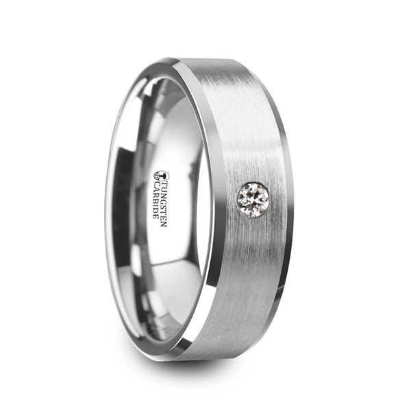 THORSTEN - PORTER Brushed Finish Tungsten Carbide Wedding Ring with White Diamond Setting and Beveled Edges