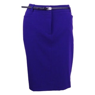 Calvin Klein Women's Petite Belted Pencil Skirt (8P, Night) - Night - 8P
