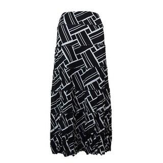 JM Collection Women's Ruffled Trim Printed Mesh A-Line Skirt - S