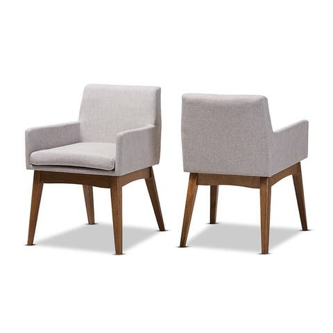 Nexus Walnut Wood Finishing Greyish Beige Fabric Dining Armchair - 2pcs