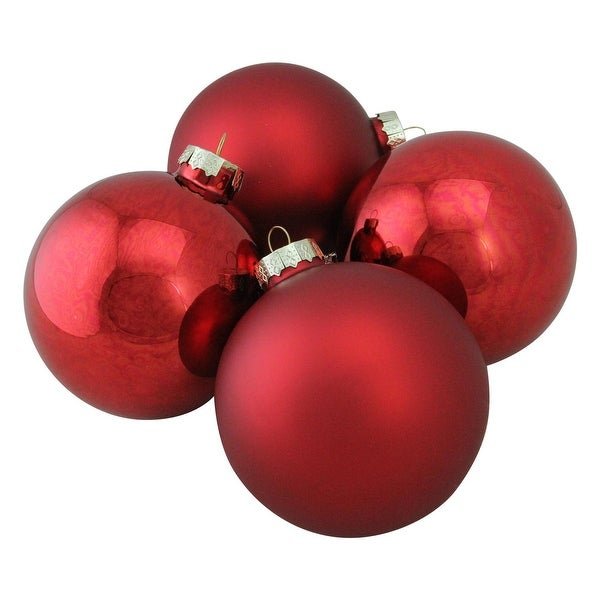 "4-Piece Shiny and Matte Red Glass Ball Christmas Ornament Set 4"" (100mm)"