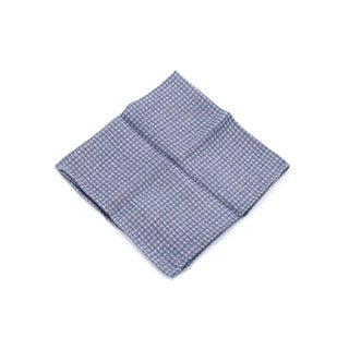 Brunello Cucinelli Men's Navy Checkered Wool Pocket Square