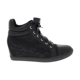 Angelina Adult Black Lace Outer Fully Lined Trendy Sneakers