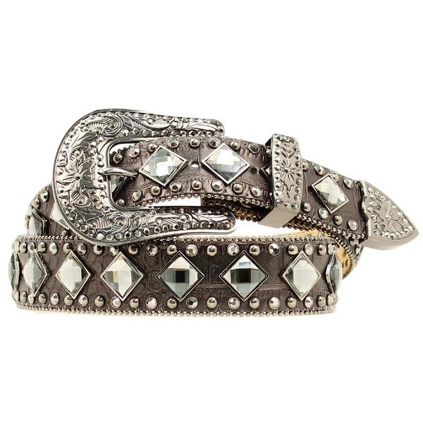 Nocona Western Belt Womens Diamond Bling Crystal Black