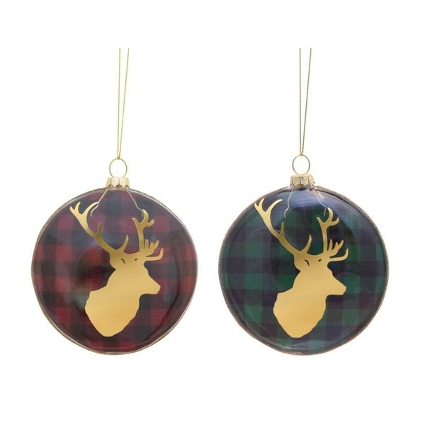 Pack of 12 Rustic Red and Green Plaid Glass Christmas Ornaments with Gold Reindeer Silhouette 4""