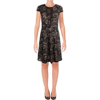 Aqua Womens Cocktail Dress Lace Overlay Cap Sleeves