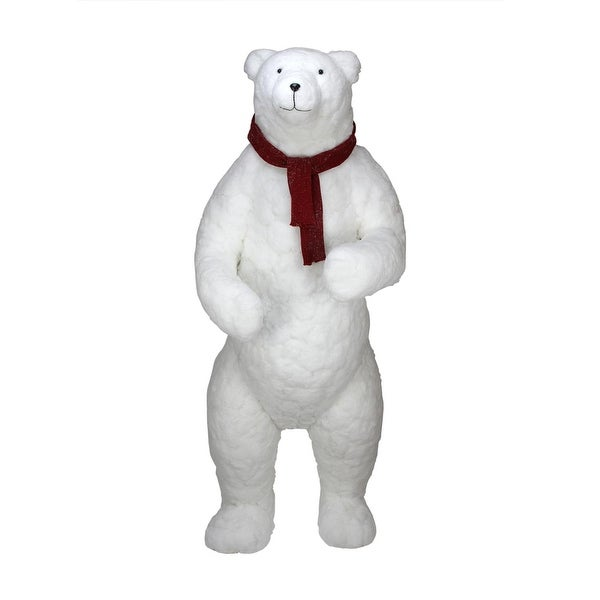 6' Commercial Standing Plush White Polar Bear Christmas Decoration