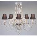 Swarovski Crystal Trimmed Authentic Chandelier Lighting & Black Shades - Thumbnail 0