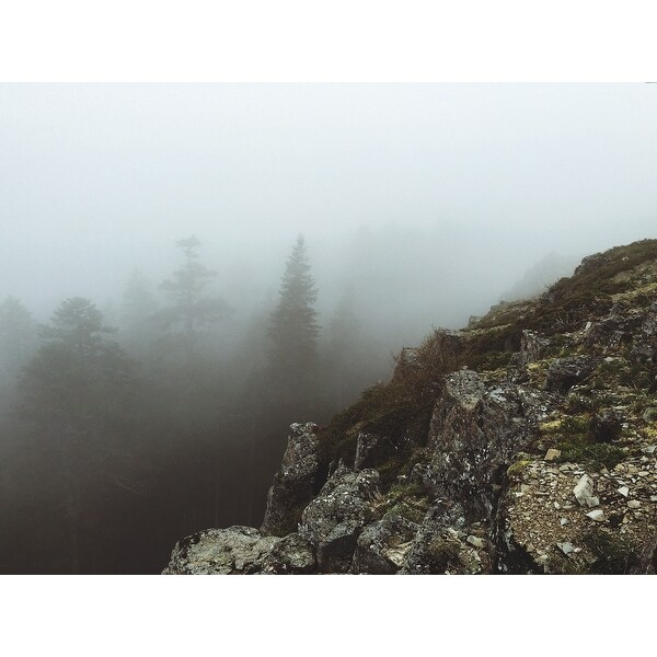 Cliff And Fog Photograph Art Print